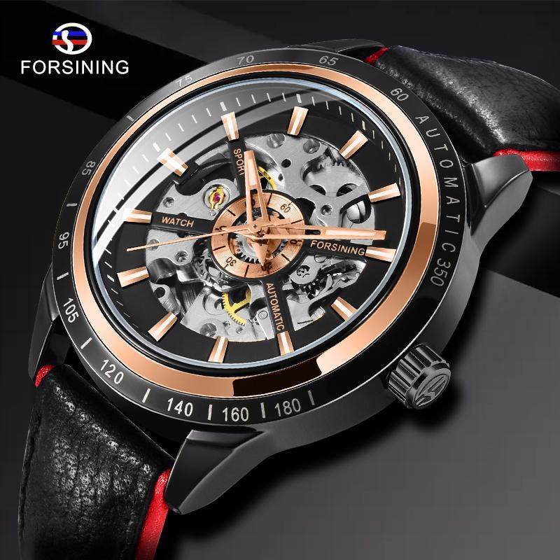 Bracelets à l'arrière-montre de la marque Top Brand Transparent Red Red Black Band étanche Squelette Hommes Montres automatiques Horloge de luxe Relogio Masculino