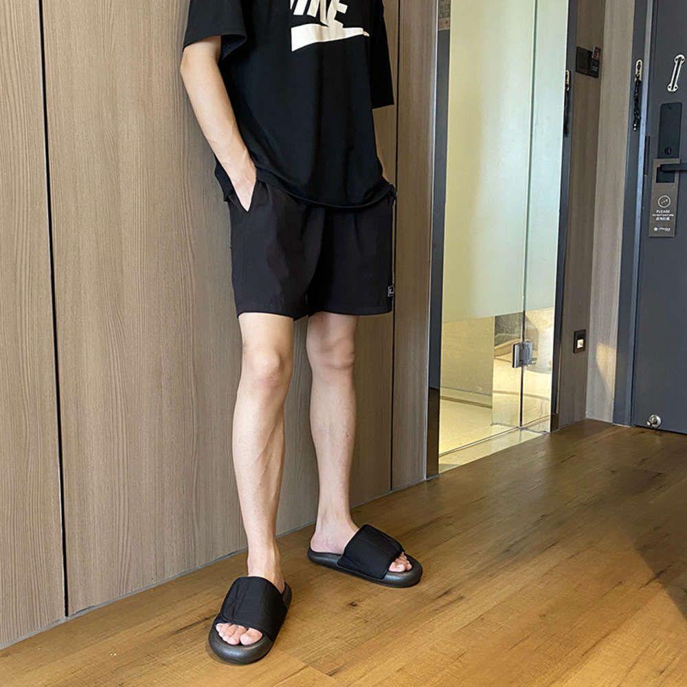 Açık Kalın Dipli Ekmek Terlik Kore Eğlence Flip Flop Velcro Beach Sandalet Erkekler