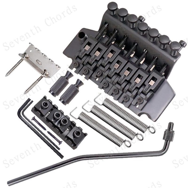 Un set di nero 7 corde Tremolo Bridge Double Blocking Systyem per accessori per chitarra elettrica Parti Strumento musicale