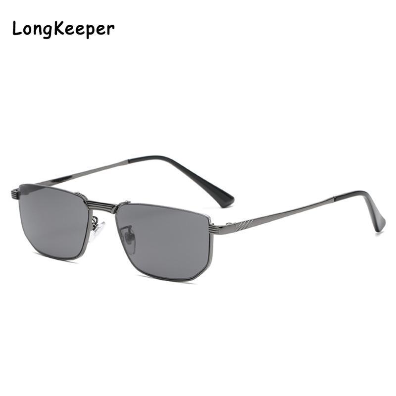 Lonckeeper erkek Siyah Güneş Gözlüğü Kadınlar Dikdörtgen Çerçeve Marka Tasarımcısı Retro Güneş Gözlükleri Unisex Kare Kahverengi Mor Shades UV400