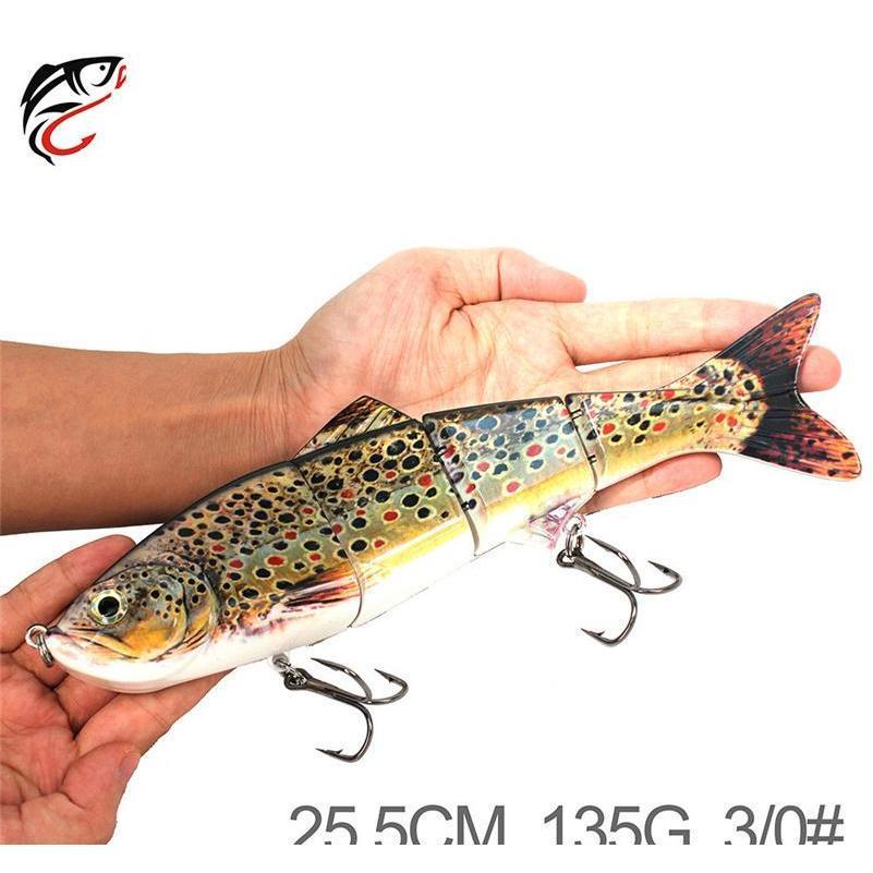 Super Big Size 4 Segmenti Pesce artificiale VIB VIB Esche da pesca 25.5 cm 135g Immersioni profonde Grande Laser realistico Musky Jllxiz Sport77777
