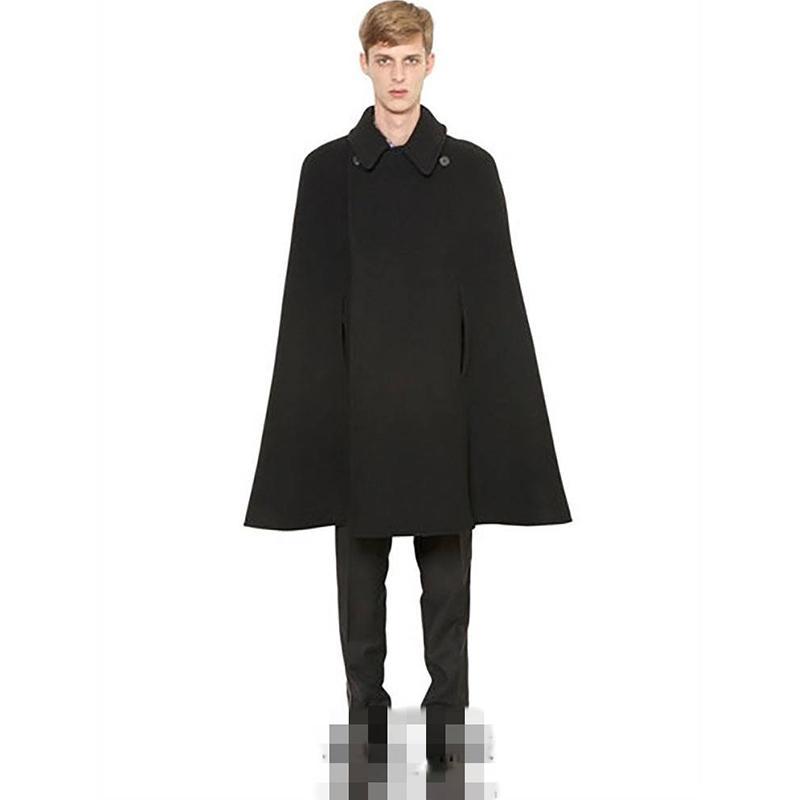Erkek Ceket Sonbahar / Kış Orta Uzunlukta Erkek Yün Ceket Baldric Ceket Erkek Şal Cape Moda