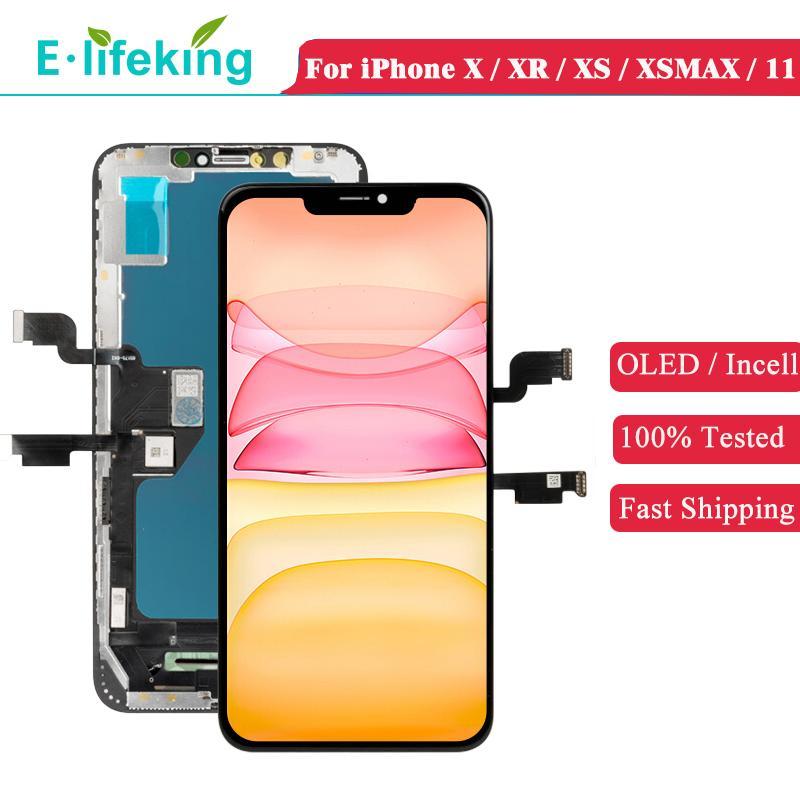OLED LCD Ekran iPhone X XS XR XSMAX 11 Ekran Dokunmatik Panel Sayısallaştırıcı Montaj Parçaları Değiştirme İncelt TFT Kalite Mükemmel Renk% 100% Test