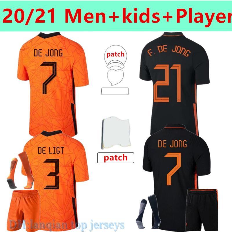 20 21 Países Baixos Memphis Soccer Jersey Camisa de Jong Holland de Ligt Strootman Van Dijk Virgil Wijnaldum 2021 2022 Jogador de Futebol Versão Men + Kid Kit