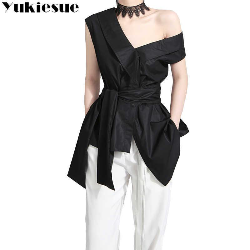 Yukiese Sleeveless Schärpen Tunika Frauen Blusen Hemden Sommer V Collar Schwarz Khaki Unregelmäßige lose Hemd Tops Casual 210608