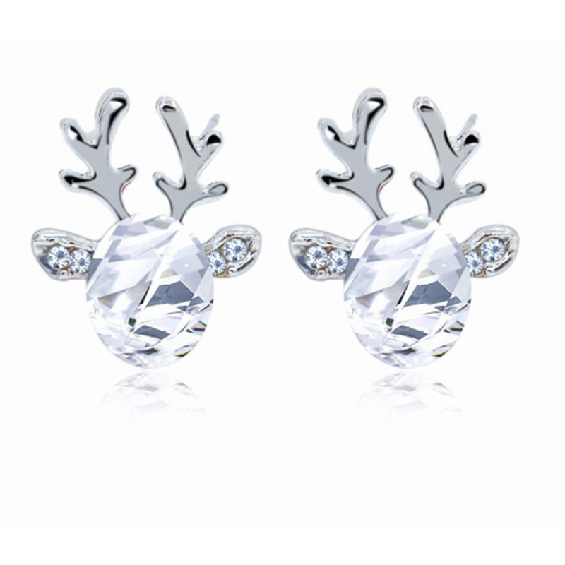 YUTONG VENTA CALIENTE Moda elegante Navidad Cristal de ciervos Pendientes de Rhinestone Sparkling Oreja Stremo para mujer Joyería de las niñas