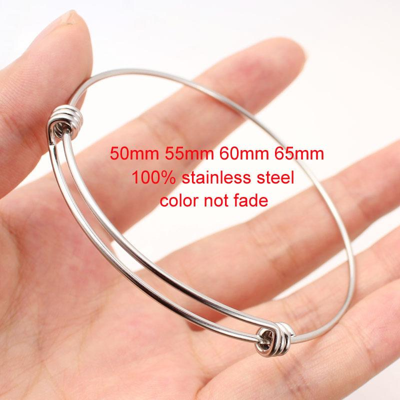 Stainless Steel Expandable Wire Bracelets 1.6mm Thick Adult & Kids Size 50mm-65mm Adjustable Bangles For Jewelry Making