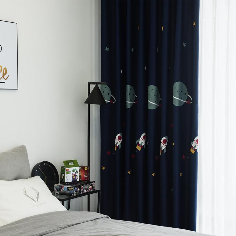 Curtain & Drapes Boy Cartoon Blackout Kids Curtains Fabric Embroidered For Living Room Finished Custom Children Bedroom