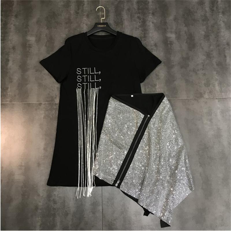 Spring Summer New Water Drill Chain Short Sleeve Tassel T Shirt + Hot Drill Zipper Skew Skirt Fashion 2 Piece Skirt Suits 210304