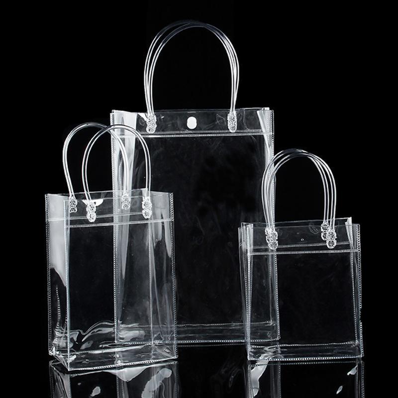 1pc Trasquaria trasparente Borsa impermeabile in PVC PVC Shopping Bag Shopping Borsa a spalla Borsa per stoccaggio per viaggi ambientale Sacchetti