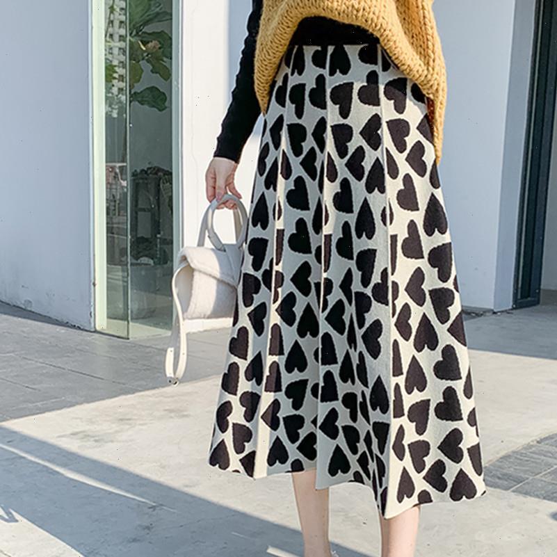 Nova Chegada Quente Inverno Malha Saia Mulheres Amor Coração Forma Vintage Moda Plissada Midi Ladies Coreano Faldas Mujer
