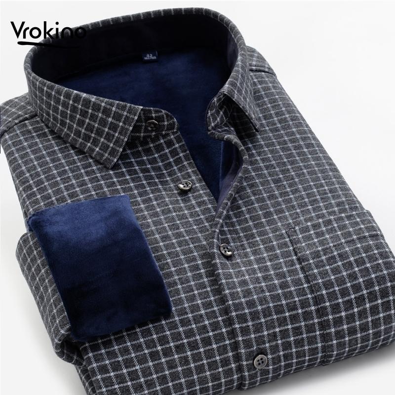 Grande tamanho xxl-10xl moda novo estilo men's inverno quente camisa de xadrez quente inverno espessura negócio macio casual camisa de mangas compridas 210310