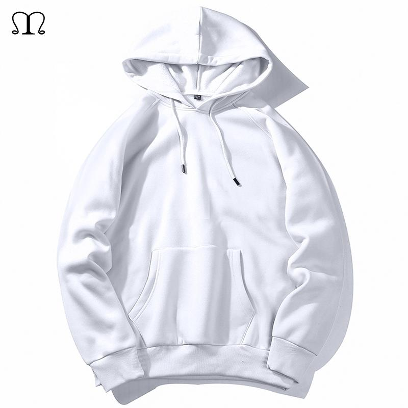 Warm Fleece Hoodies Men Sweatshirts New Spring Autumn Solid White Color Hip Hop Streetwear Hoody Man's Clothing EU SZIE XXL 201128