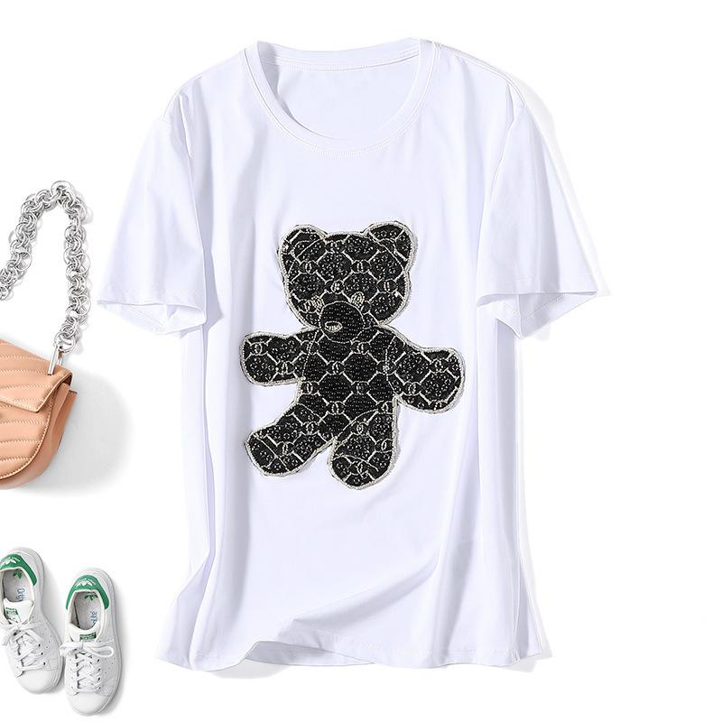 2021 Spring and Summer New Fashion Brand Women's Heavy Industry Embroidery Sequined Bear Short Sleeve T-shirt