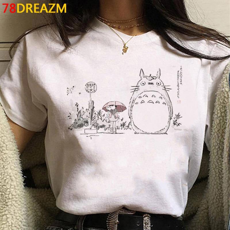 Totoro Studio Ghibli Harajuku Kawaii T рубашка женщины Ullzang Miyazaki Hayao Графические тройники мультфильм футболка милый аниме TEE женское C0220