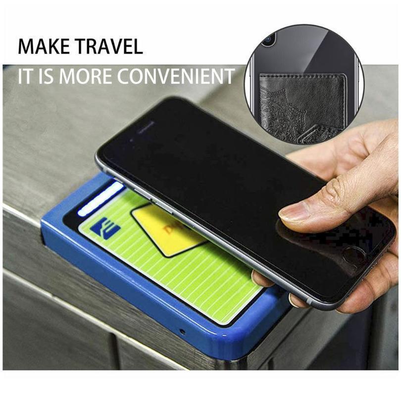 Moda em relevo flor adesiva cartão de crédito bolsa de bolsa de bolso adesivo telefone carrinho suporte carteira carteira cartão wallet jllgts