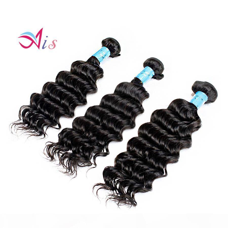 En iyi Fiyat Sınıf 7A 12-28 inç Derin Dalga Saç Örgüleri 3 Bundles Lot Tam Kafa Brezilyalı Dalgalı Saç Doğal 1B İnsan Saç