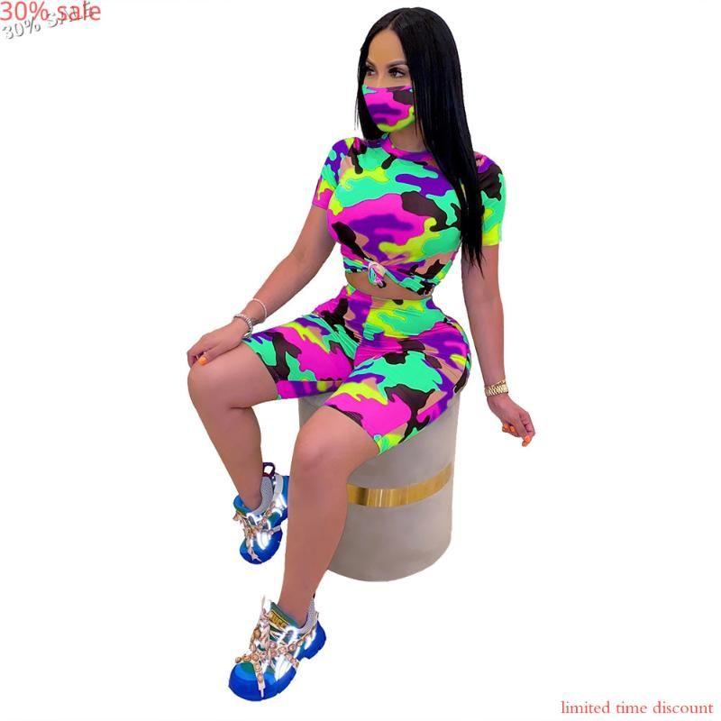 -30% Продажи камуфляж 2 шт. Набор Маска Женщины Шорты 2021 Летние Женщины Установить трексуиты Tee Tops Короткие штаны Womans Соответствующие наборы