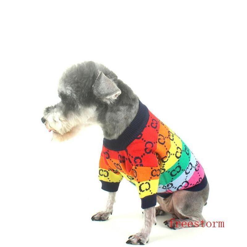 Красочные домашние свитера для собак одежда падение мягкий сенсорный бихон свитер мода буква вышивка домашние животные свитаershirt
