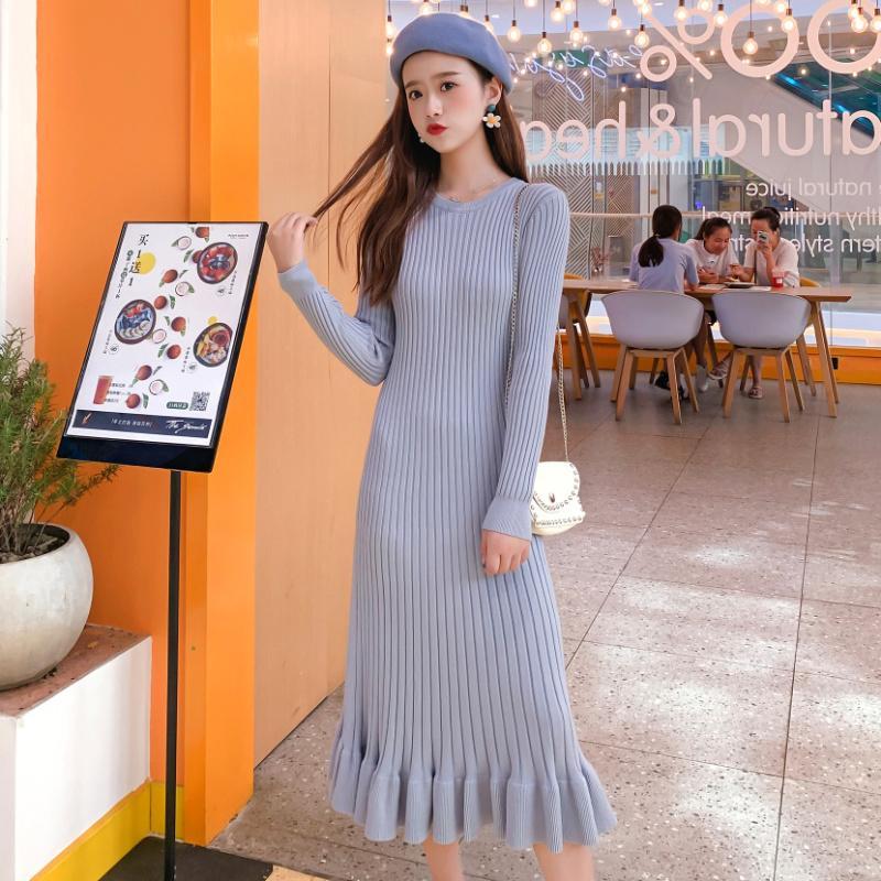 Koreanisches Oansatz Feste Pullover langes Kleid Frauen Elegante Ärmel Strickherbst Dicke Bodycon-Rüschen Meerjungfrau Europäischen und amerikanischen Stil