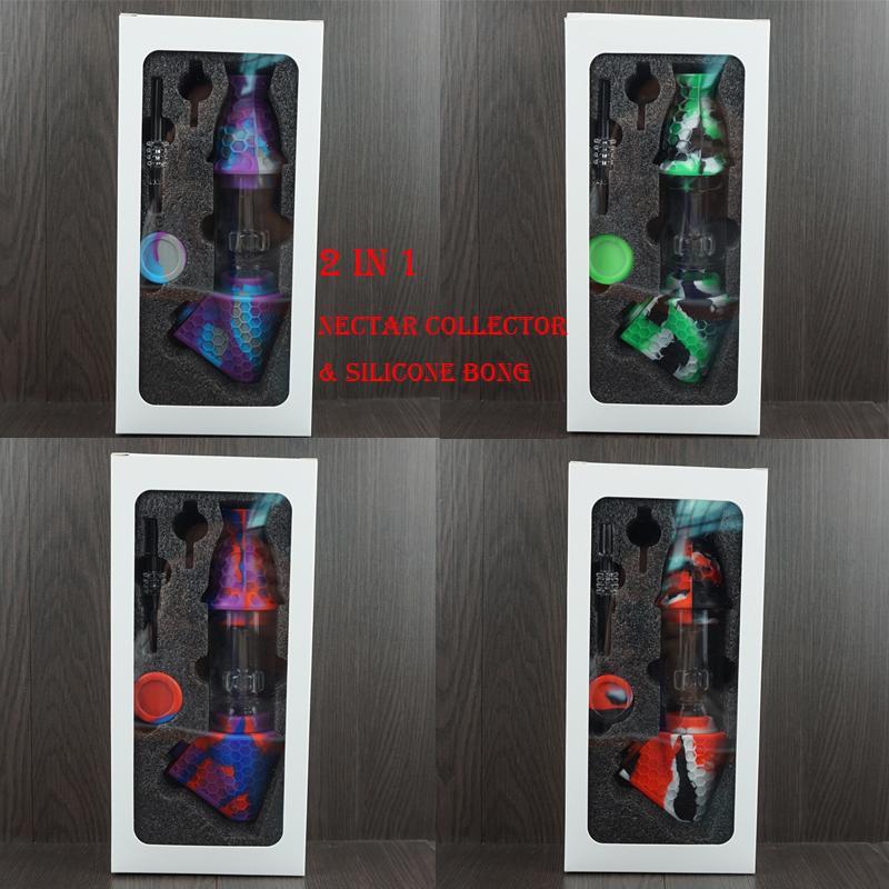 Wasserhaare Glass Nektar Sammler 2 in 1 Premium-Tabaktasche Set Wachsbehälter Silikonbong mit Quarz Nagel Aufbewahrungsdose