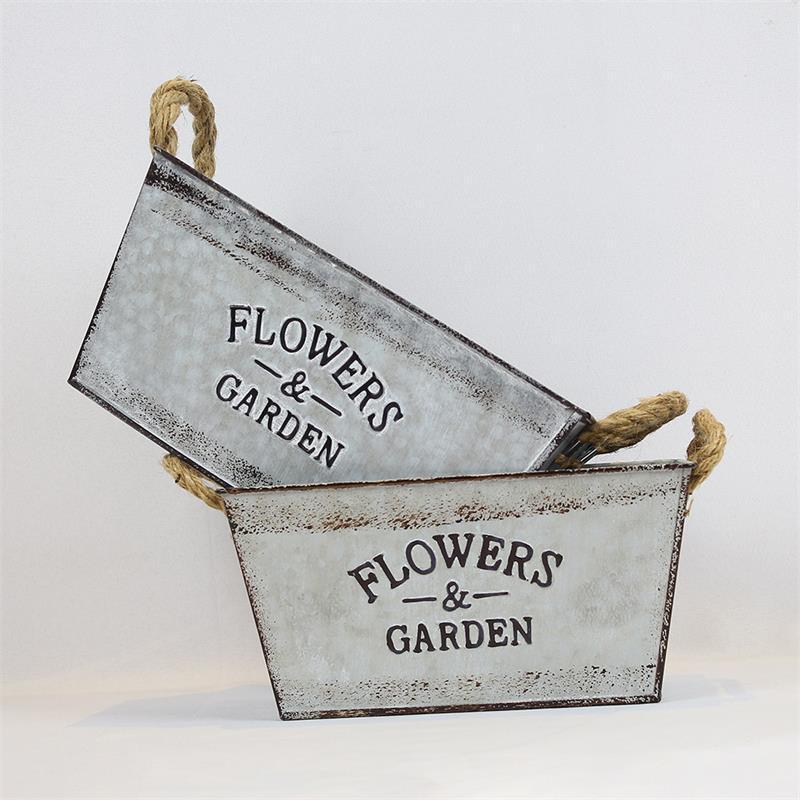 23x13xh11cm all'ingrosso fioriera di metallo zincato lungo vasi succulente vasi erbie flantal balcone e giardino decorazioni Ego che SF-0314-1