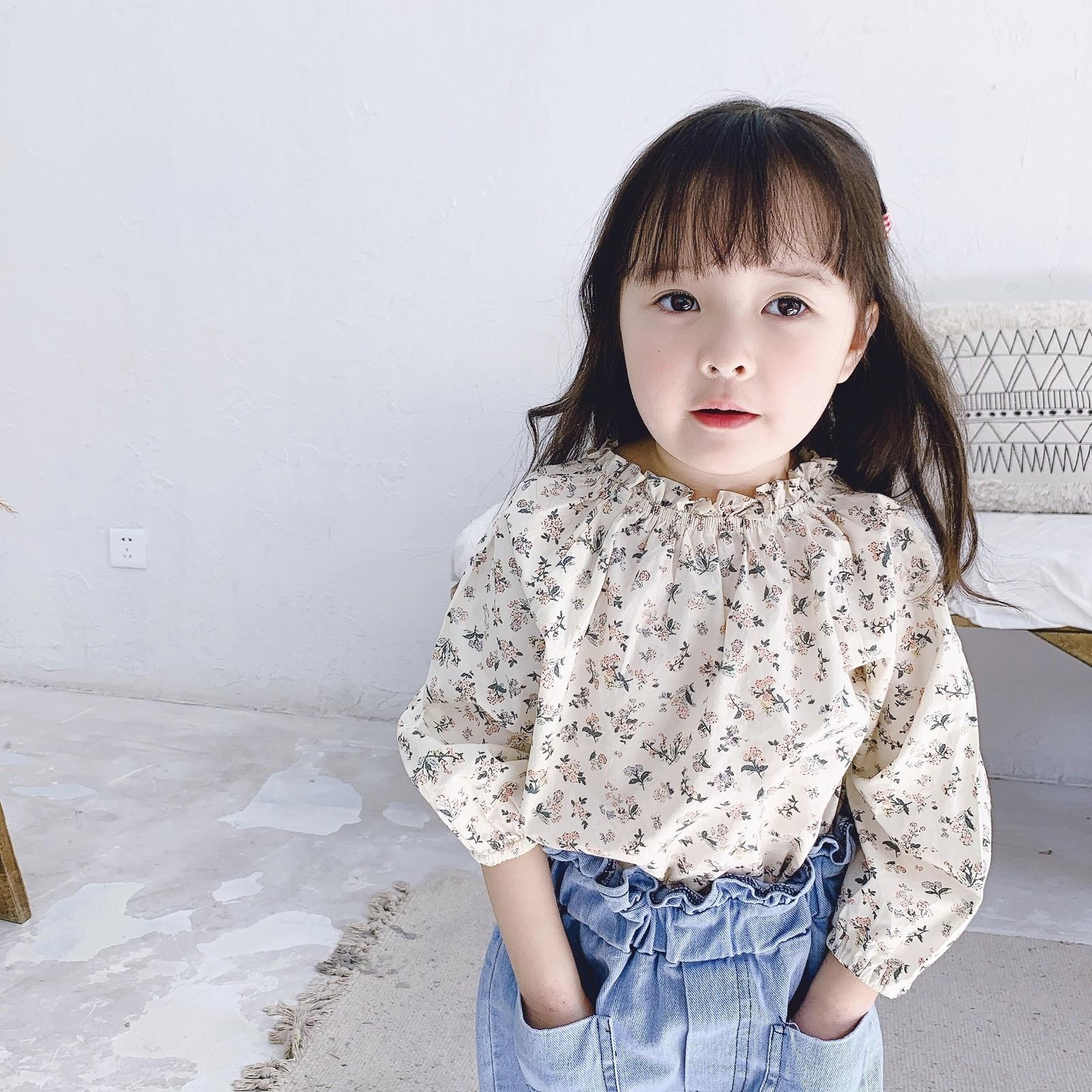 Spring baby girls cute floral long sleeve shirts kids cotton clothes Tops 1-6Y 210302