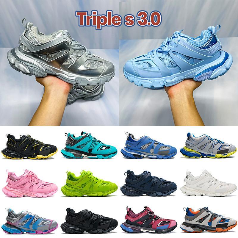 2021 Top Triple S 3.0 Prais Scarpe da corsa Ice Blue Blue Metallico Sivler Nero Bianco Giallo Borgogna Borgogna Pink Navy Men Donne Sneakers US 6-12