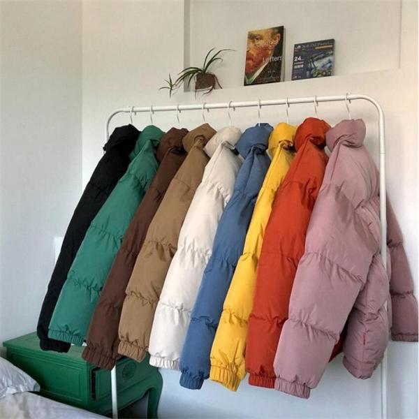Erkekler Harajuku Renkli Kabarcık Ceket Kış Ceket Dış Giyim Erkek Streetwear Hip Hop Parka Kore Siyah Giysi Kirpi Streetwear