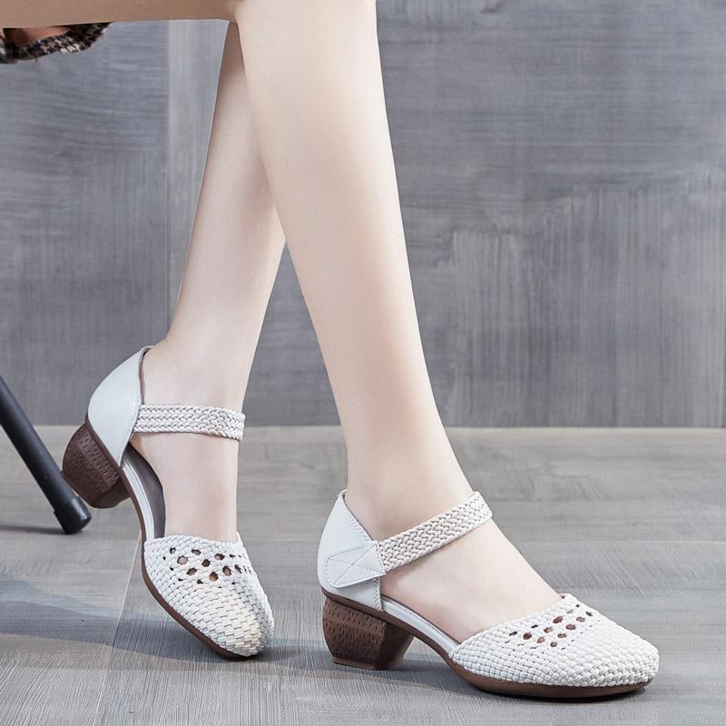 Женщины Кожаные Сандалии Белая Вышивка Высокие каблуки Женщины Летние Обувь для ручной работы Натуральные Кожа Сандалии 2021