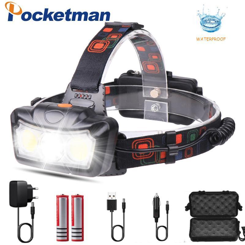 4000LM LED Headlamp T6+COB LED Headlight Head Lamp Torch Lanterna head light Use 2*18650 battery for Camping