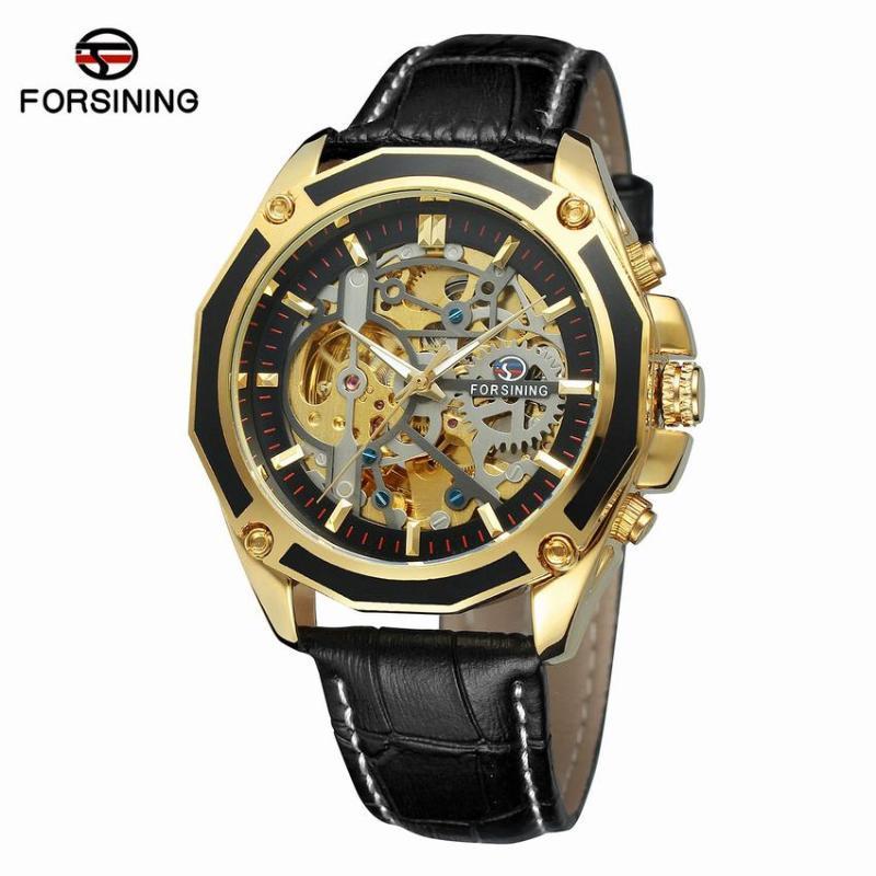 Armbanduhren Forsining Automatische mechanische Sportuhruhr Schwarzes Leder Lässige Geschäft Retro Herren Armbanduhr für Sport