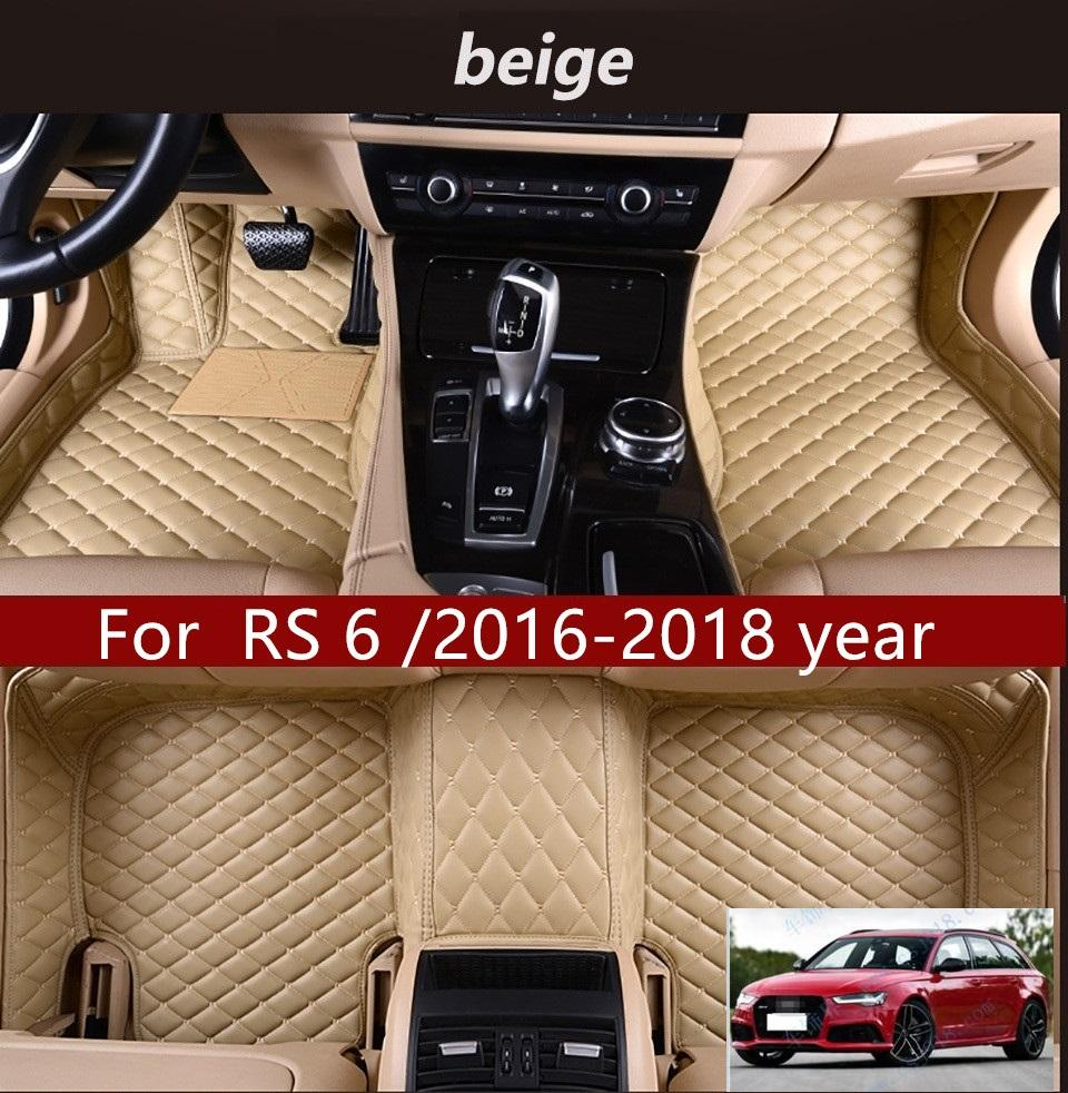 For Audi RS 6 /2016-2018 year Car Floor Mats Customized Car Waterproof Leather Wear-resistant Environmentally Friendly Non-toxic Mats