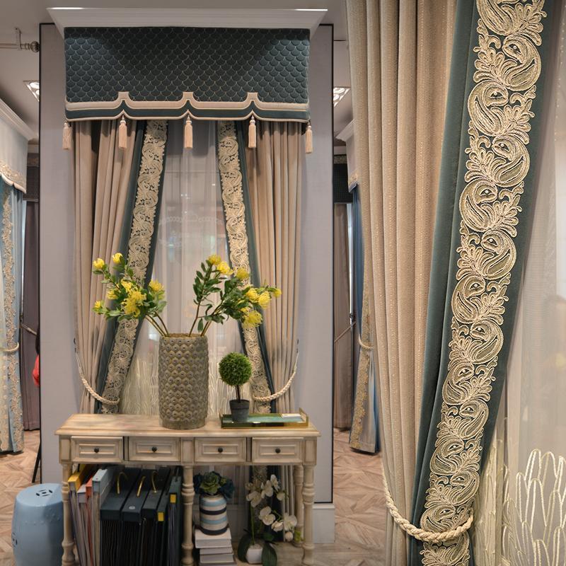 Занавес Drapes Простая светло-роскошная атмосфера Шищетая гостиная исследование виллы высокого окна Балкон Французский обычай