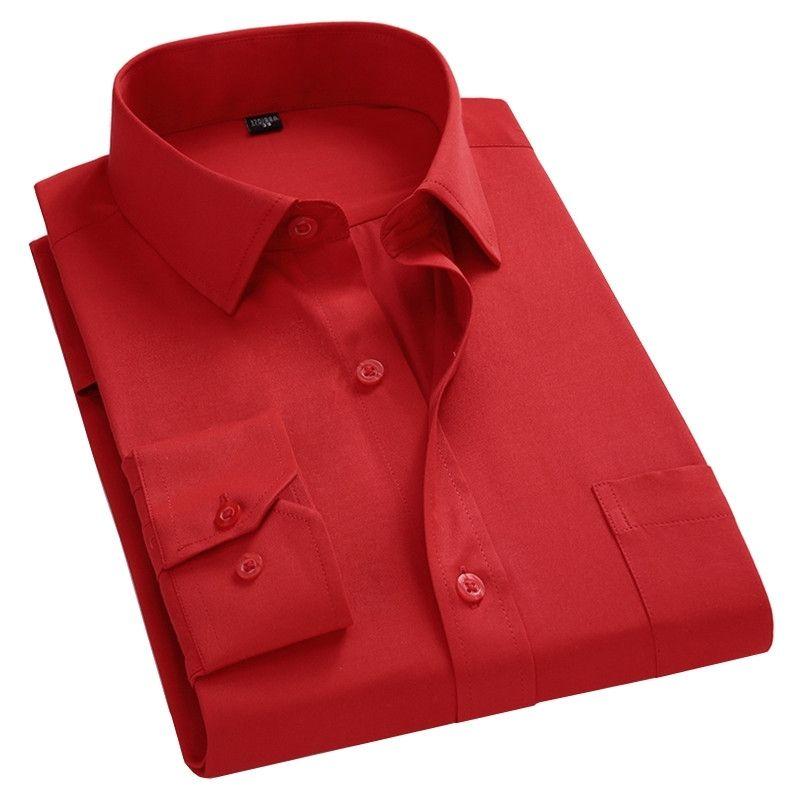 2021 New Men Business Casual Camisa de Mangas Longa Camisa Masculina Cores Sólidas Camisa Slim Fit Chemise Homme Camisa Social Masculina 210310