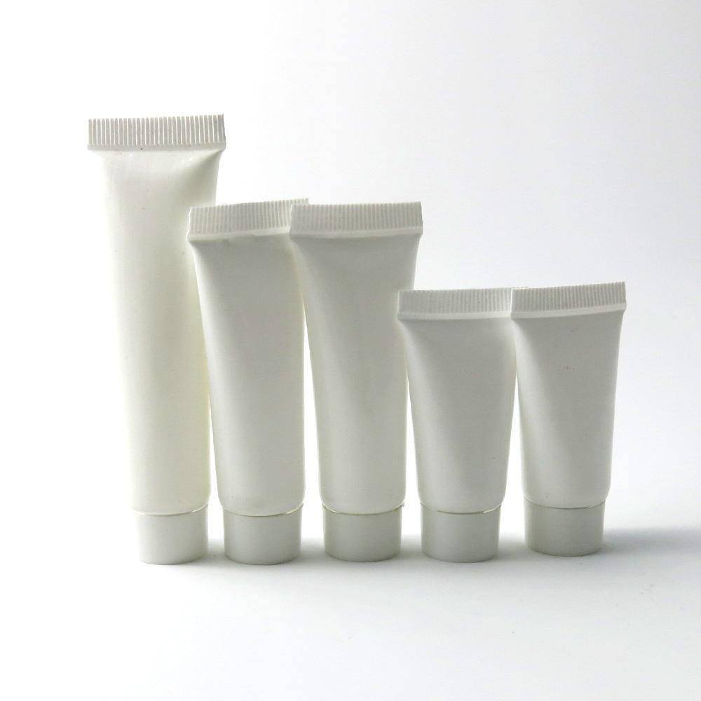 100 x Botella de plástico blanco Botella de plástico Cosmético Hand Crema Facial Vacío Squereez Tube Loción Loción Botellas Recariables 5G 10G 15G 1/2OZ