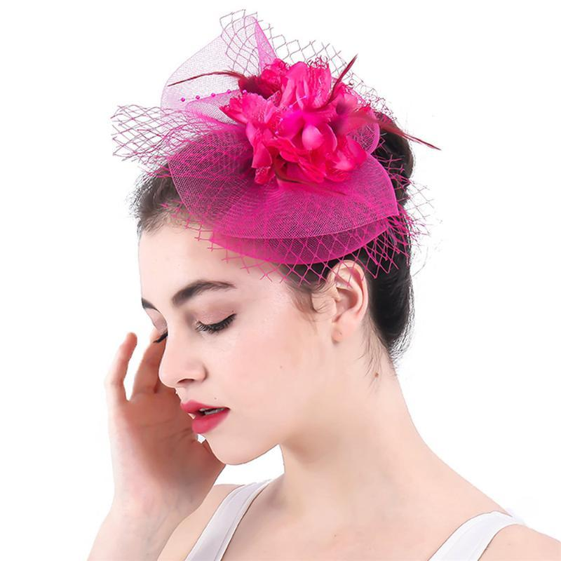 Charming Wedding Womens Fascinator Hats Gorgeous Lady Marry Headwear Fashion Hair Clips Feather Church Event Hair Accesories