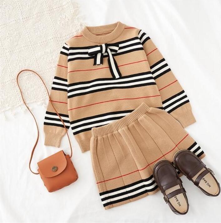 2021 İlkbahar Sonbahar Yeni Varış Kızlar Örme 2 Parça Suit Üst + Etek Çocuk Giyim Kız Giyim