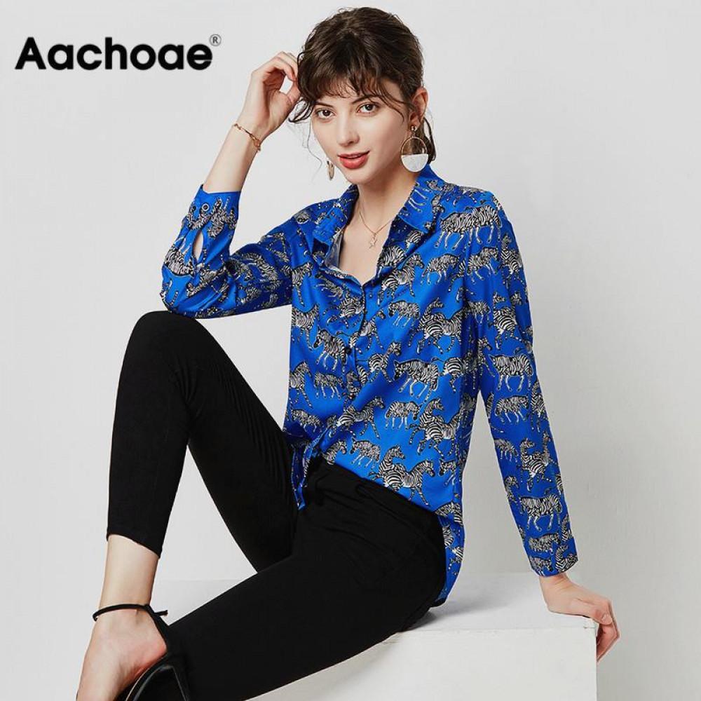Aachoee Fashion Animal Zebra Imprimer Femmes Blouses Libre à manches longues Chemise Chemise Turn Collier Dames Tuniques Tops Blusas 210302