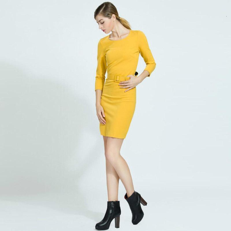 Kızlar Milan Pist Tasarımcısı Yüksek Kalite 2021 Yaz Yeni kadın Moda Çalışma Parti Seksi Zarif Chic Kalem Sarı Elbise MV3H