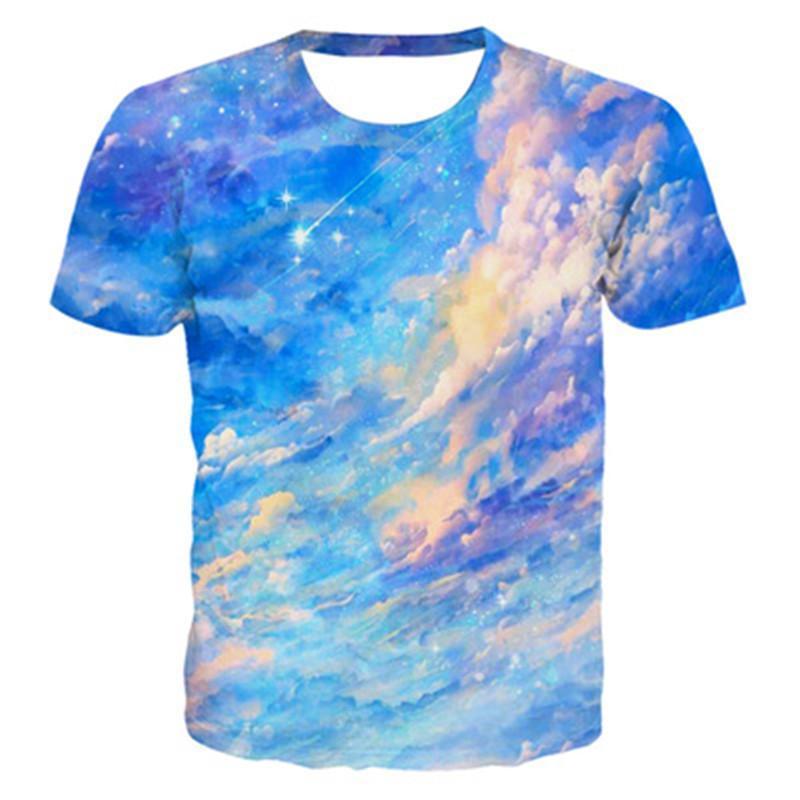 Женская градиентная печать футболки мода Trend Trend-краска с коротким рукавом свободные круглые шеи топы тройники дизайнер новая женская летняя повседневная одежда