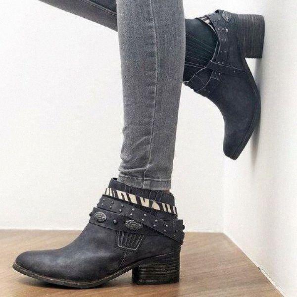 Monerfi Runde Zehe Stiefel Frauen Vintage Knöchelstiefel Sexy Niet Zebra Leopard Mode PU Leder Weibliche Schuhe Botas Mujer W6N8 #
