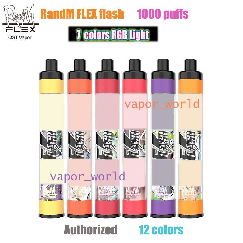 Original Randm Flex Flash 일회용 Vape 1000 퍼프 E 담배 650mAh 배터리 4ml 용량 장치 대 플로트 Bang XXL Air Bar Max