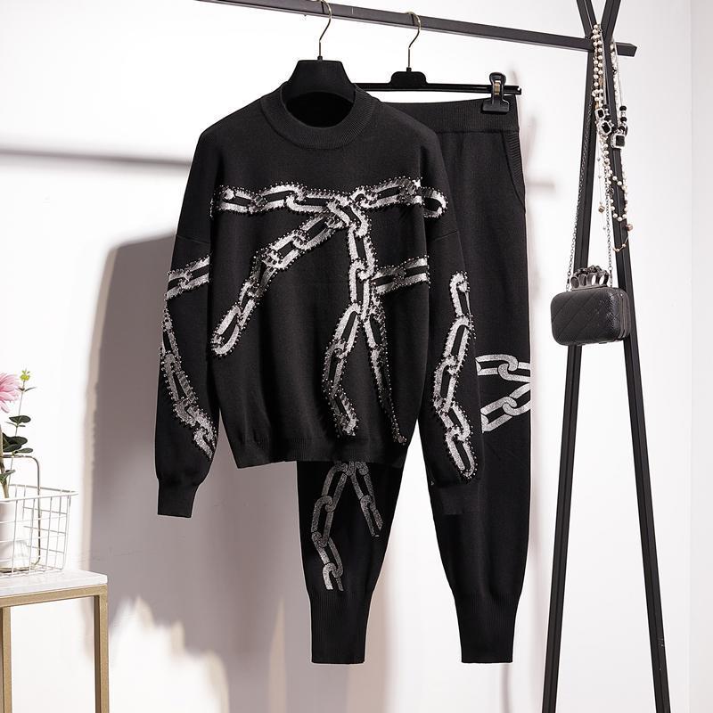 Frauen Zwei Stück Hosen Schwarz Manuelle Perlen Kettendruck Frauen Gestrickte Trainingsanzug Outfits Casual O Neck Pullover Bleistift Weibliche Stricksets