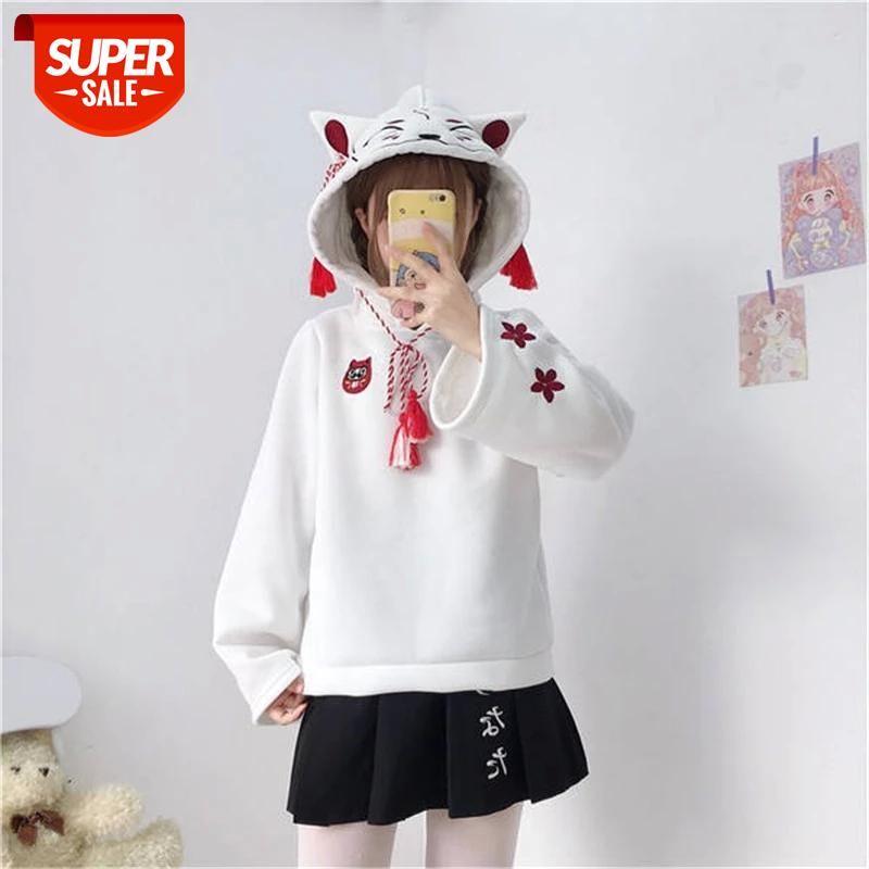 Harajuku Sonbahar Moda Uzun Kollu Mahsul Tops Kadın Fox Kulak Kapüşonlu Tişörtü Hoodies Patchwork Kazaklar Nakış Hoodie # O007