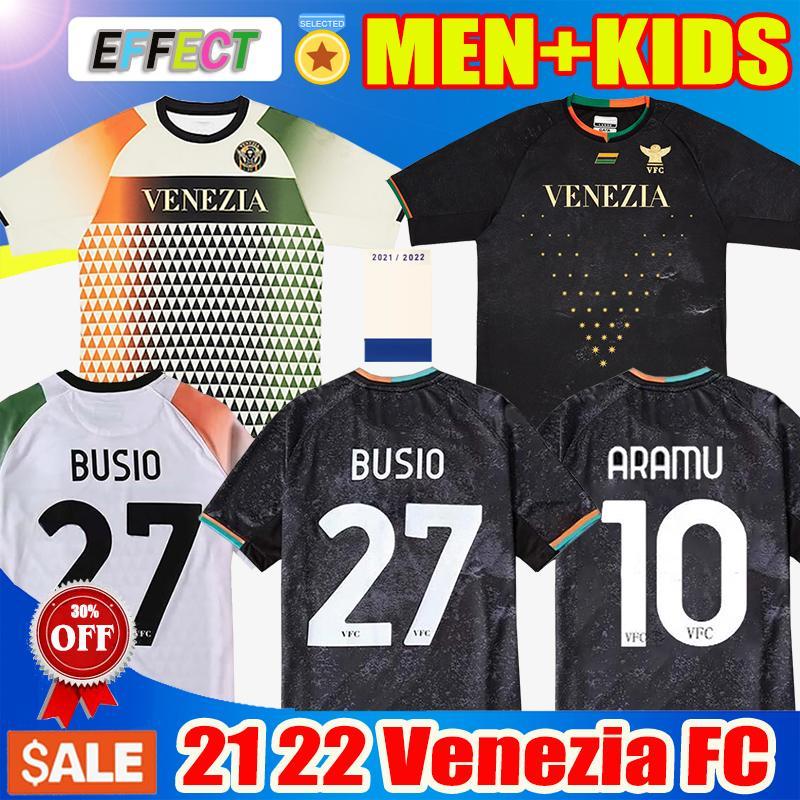 21 22 베네치아 FC 축구 유니폼 홈 블랙 멀리 화이트 세 번째 파란색 10 # Aramu 11 # Forte Venice Busio 2021 2022 Mazzocchi 7 # 축구 셔츠 3RD Adukt 키트 키트 제복