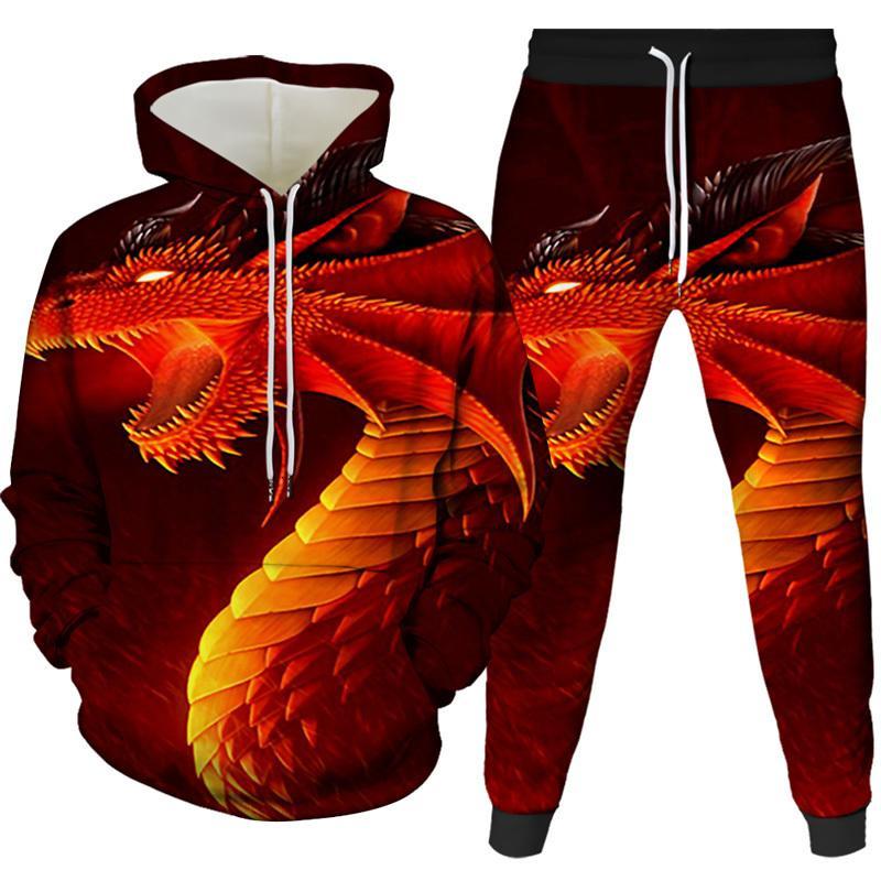Buz 3D erkek Sıcak Ejderha Baskılı Alev Hoodies Streetwear Menwomen Hoodie Kazak Hoody Rahat Hip Hop Çekin C62A