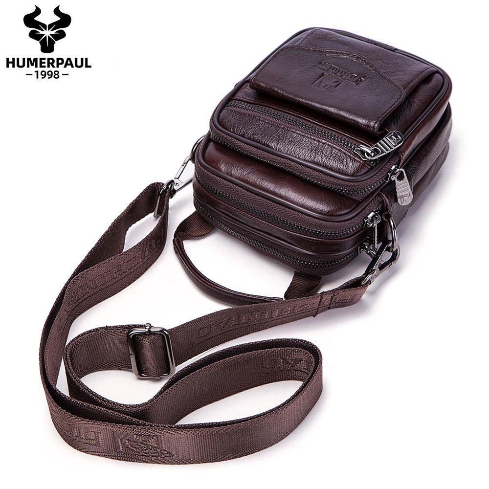 2020 New Fashion Genuine Leather Shoulder Bag Small Messenger Bags Men Travel Crossbody Bag Handbags Men Black/Small Bag C0224