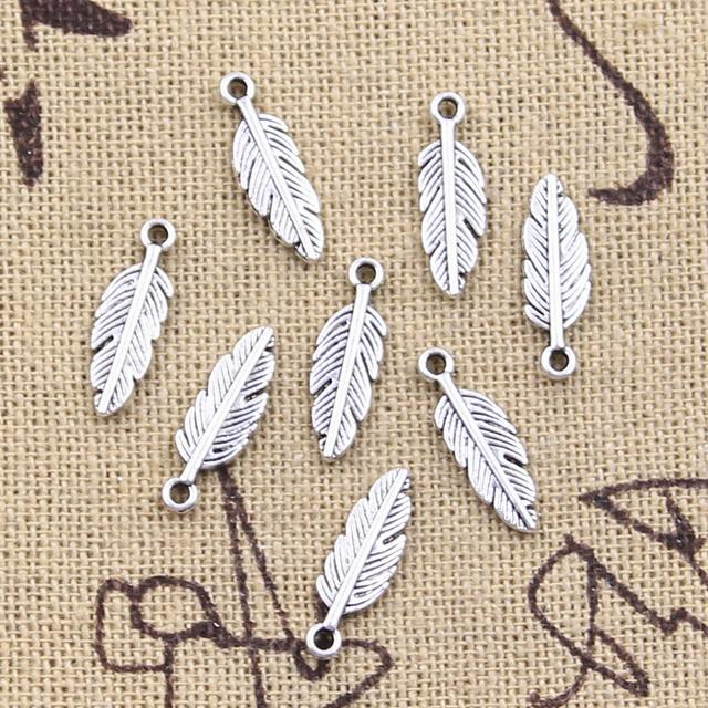 50pcs Charms Feather Leaf 15x5mm Antique Silver Color Pendants Making DIY Handmade Tibetan Finding Jewelry