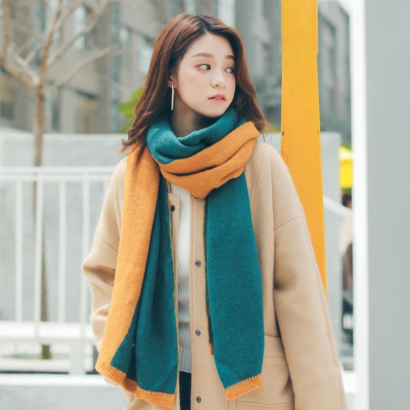 Bufanda de tendencia de invierno de dos tonos Otoño Nuevo estilo coreano de moda Color cálido Color Color de las mujeres Bufanda a juego